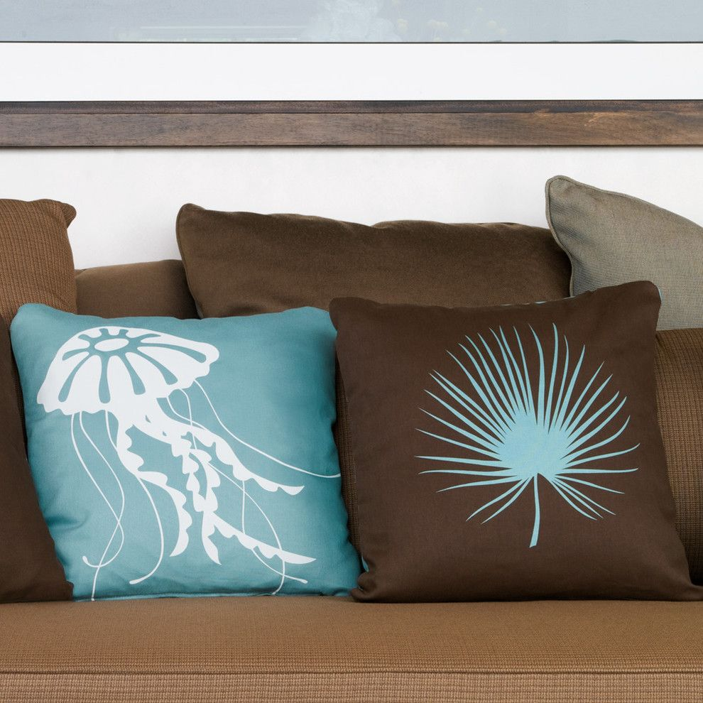 Jolee for a  Spaces with a Nautical Pillows and Jellyfish and Palm Frond Decorative Throw Pillows by Wabisabi Green
