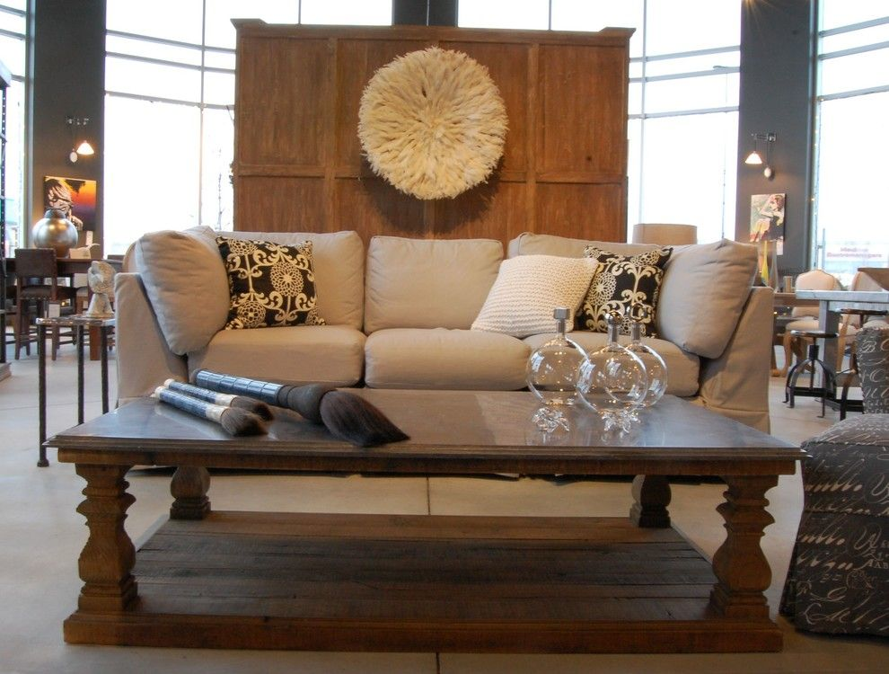 Juju Designs for a Eclectic Living Room with a Slipcovered Sofa and Salon    Living Room by Sueno Furniture & Accessories