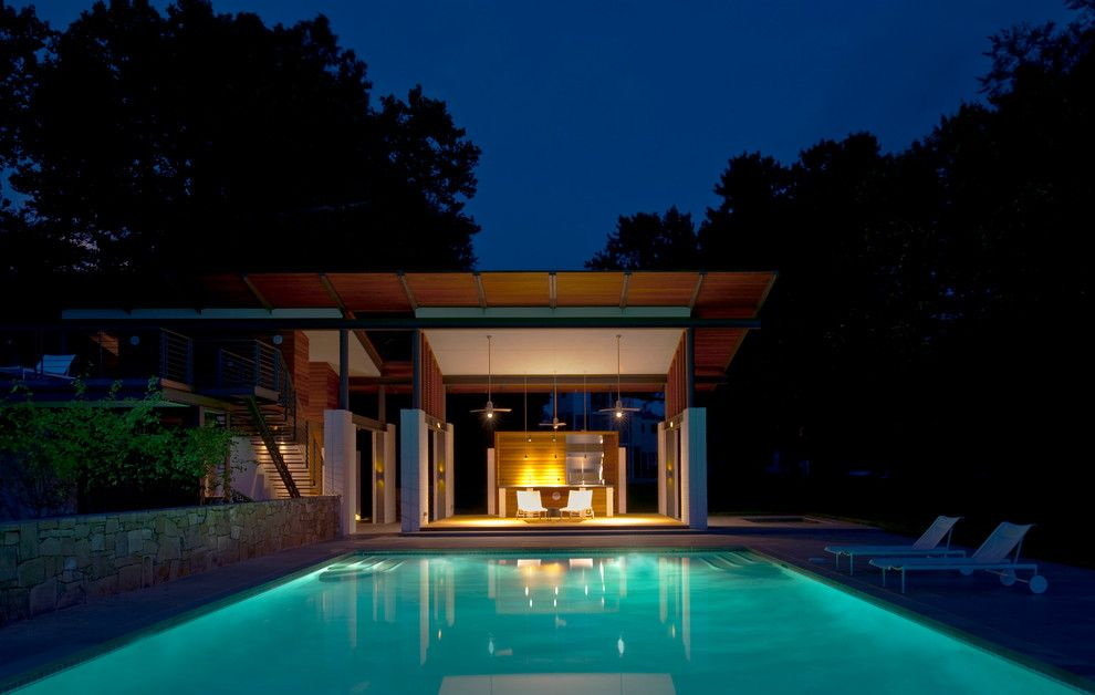 Julia Morgan Architect for a Modern Pool with a Metal Railings and Rappahannock Bend Summer House by Mcinturff Architects