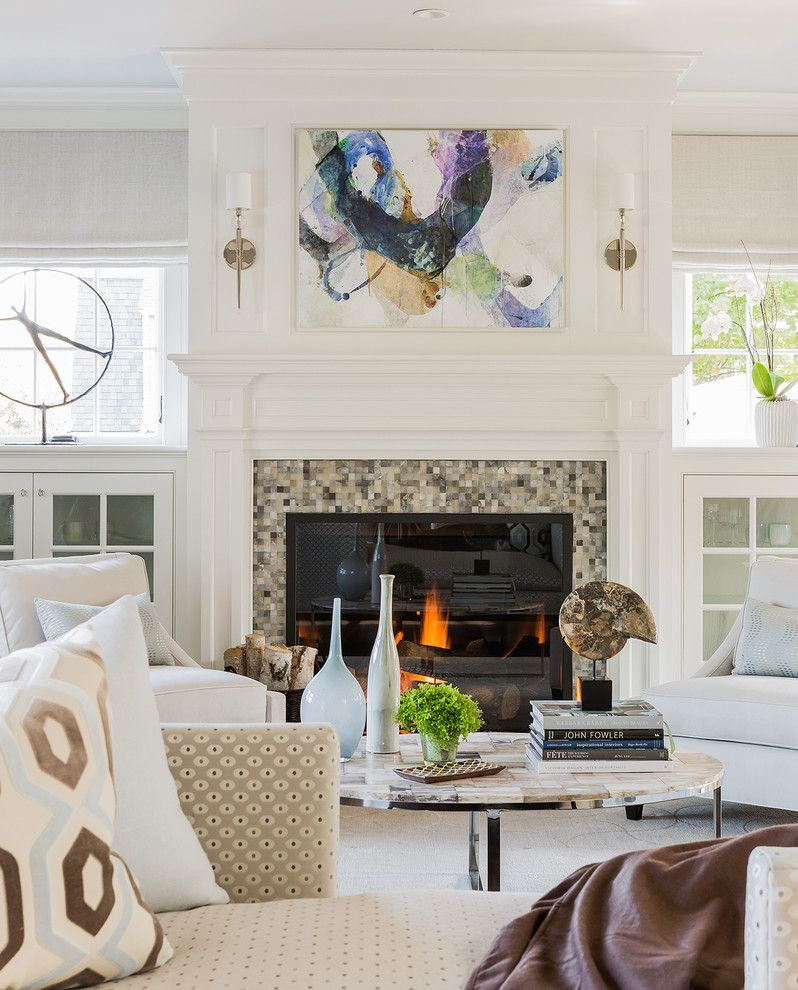 Julia Morgan Architect for a Transitional Living Room with a Oval Coffee Table and Private Residence   Marblehead, Ma by Julia Cutler Interior Design