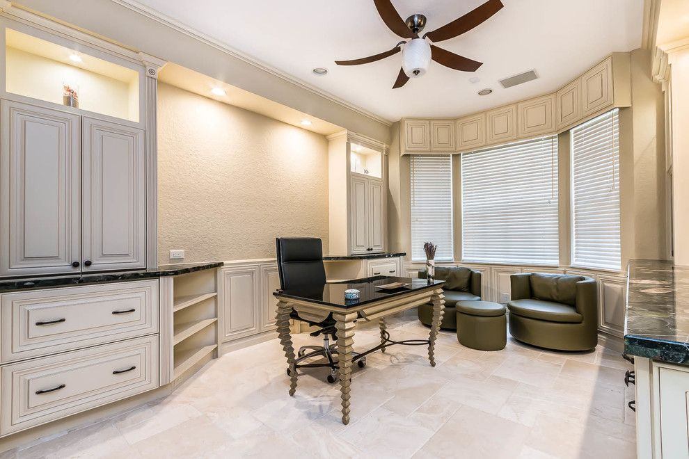 Julianos for a Traditional Home Office with a Traditional and Woodfield Country Club by Crafty Cabinets