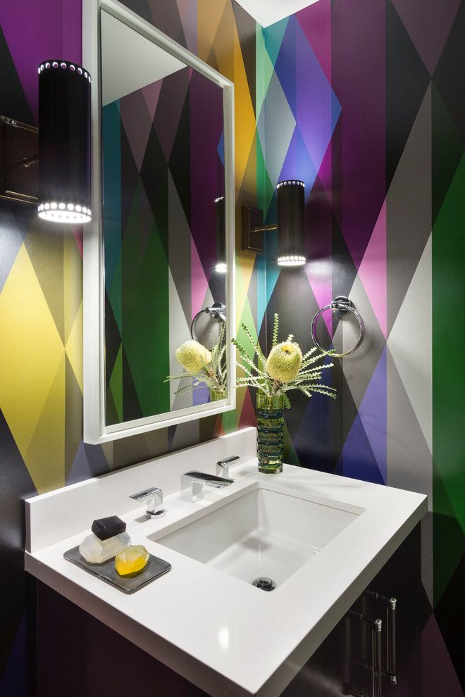 Kaleidoscope Atlanta for a Contemporary Powder Room with a White Countertop and Bold & Colorful Powder Room by Ann Lowengart Interiors