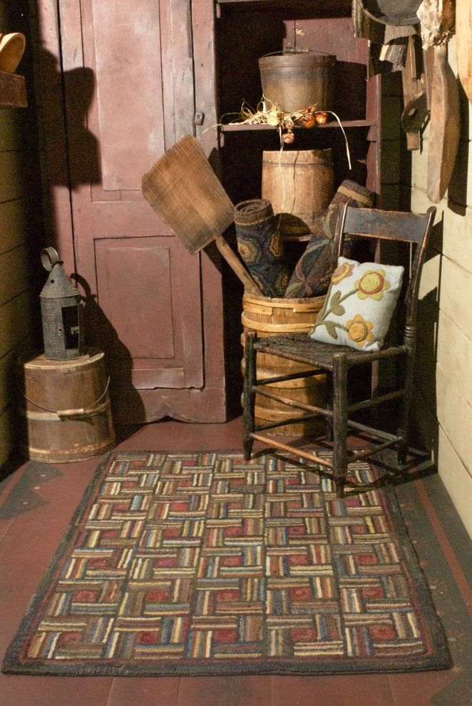 Kaleidoscope Atlanta for a Rustic Entry with a Primitive Decor and Homespice Matchstic Hand Hooked Rug by Homespice Decor