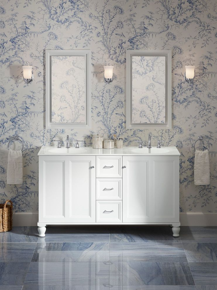 Kate's Paperie for a Traditional Bathroom with a Cast Iron Top and Kohler Bathroom Vanities by Capitol District Supply