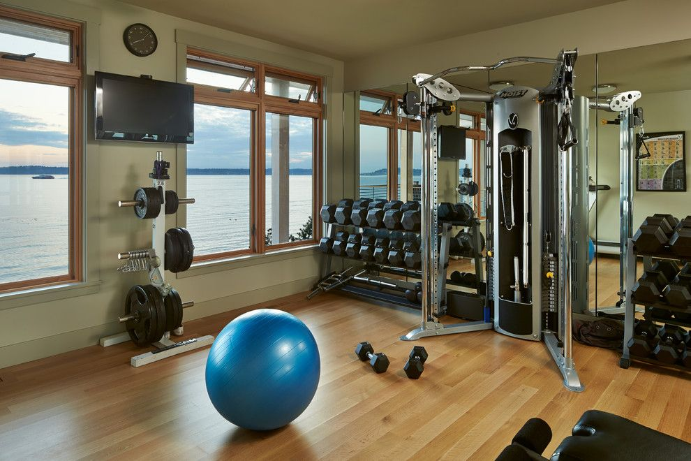 Kb Homes Reviews for a Beach Style Home Gym with a Black Weight Station and Harbor House by Schultz Miller Inc.