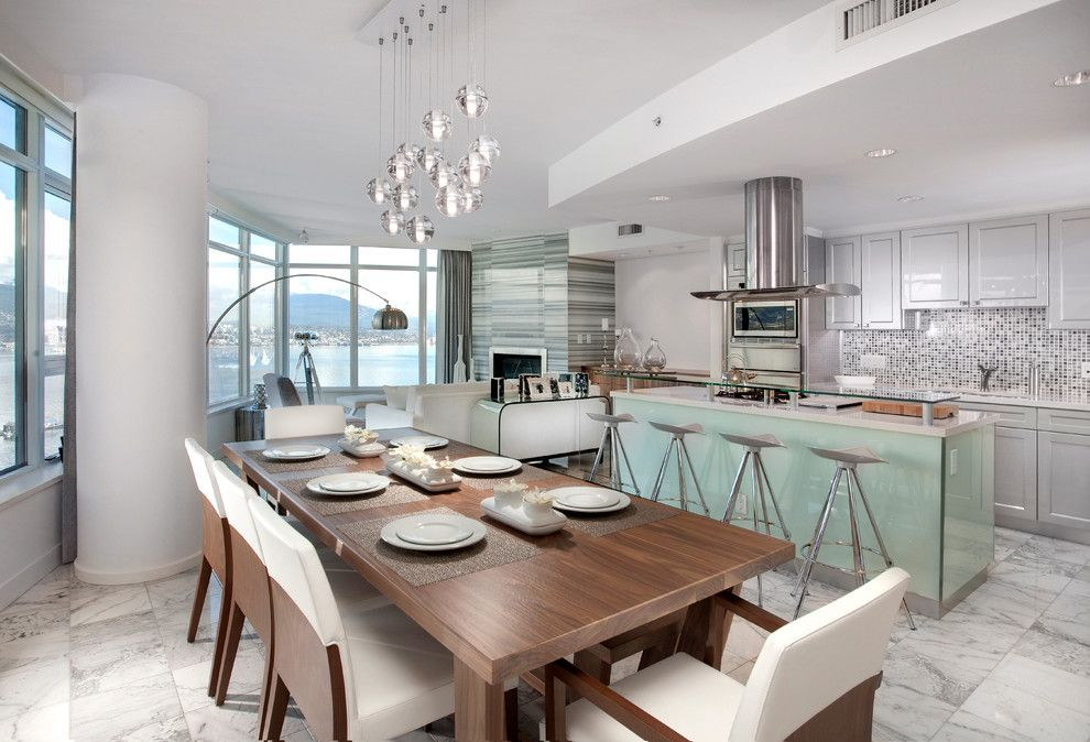 Kc Auto Paint for a Contemporary Dining Room with a Pendant Lights and Residence in Coal Harbour by Olive E + O