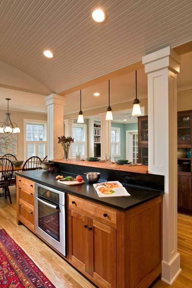 Kelly Van Halen for a Eclectic Kitchen with a White Cabinets and Charming Revival by Teakwood Builders, Inc.