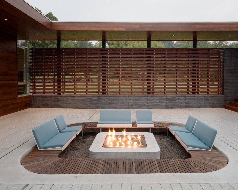 Ken Burns Prohibition for a Modern Patio with a Screen and Modern Patio by Hufft.com