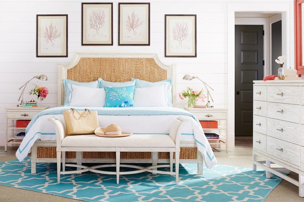Kettle River Furniture for a Beach Style Bedroom with a White Bench and Bedroom Furniture by Indian River Furniture