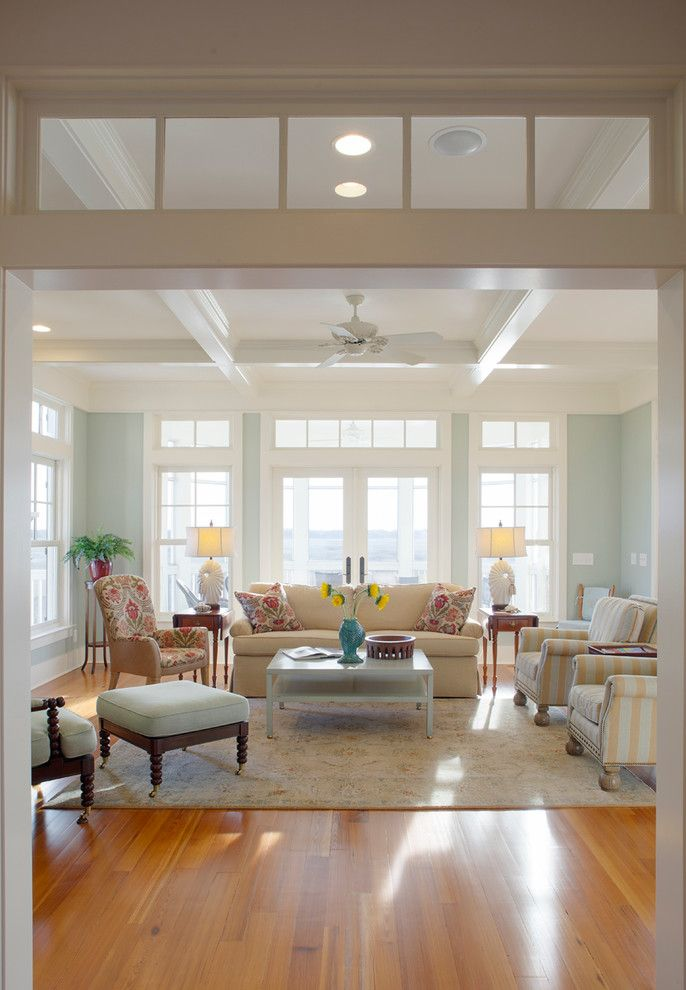 King Size Comforter Dimensions for a Beach Style Living Room with a Recessed Lighting and White Residence by Sga Architecture