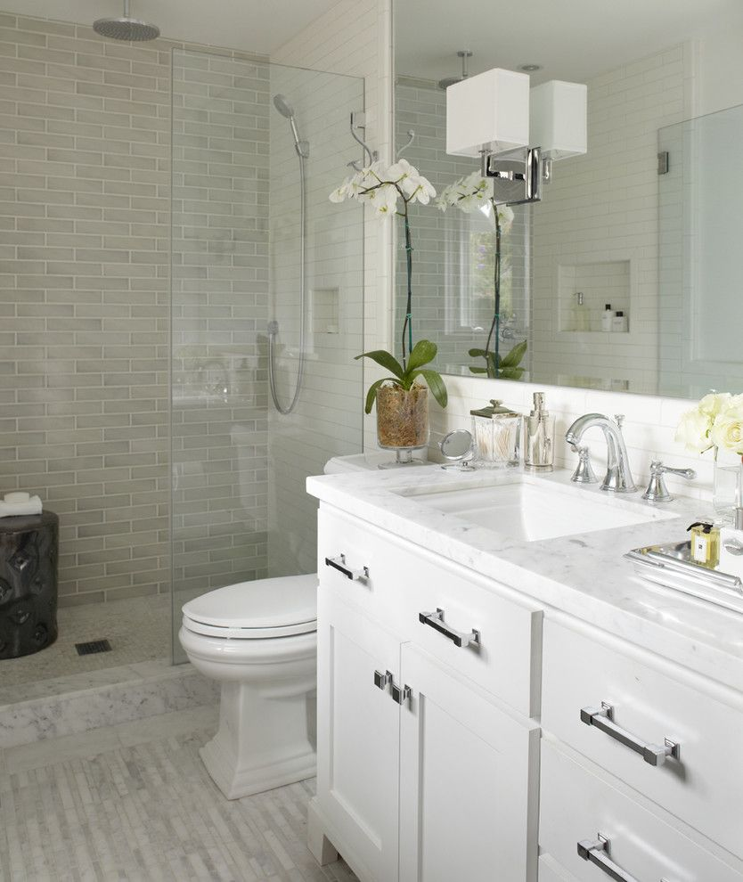 King Size Comforter Dimensions for a Transitional Bathroom with a Subway Tile and Greenbrae, Ca by Urrutia Design