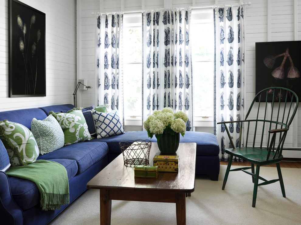 King Size Pillow Dimensions for a Beach Style Living Room with a Green Windsor Chair and Turn of the Century Cottage by Tom Stringer Design Partners