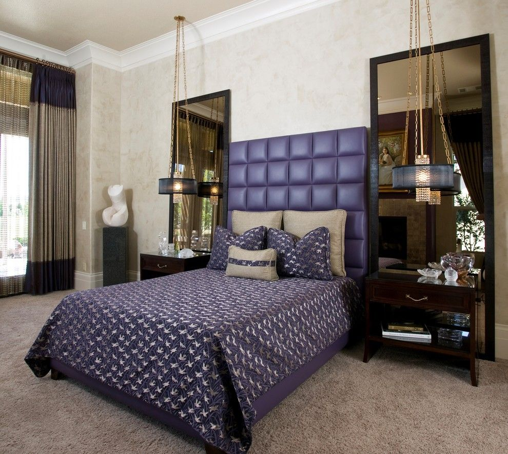 King Size Pillow Dimensions for a Contemporary Bedroom with a Wood Trim and Hollywood Regency Master Bedroom by Peg Berens Interior Design Llc
