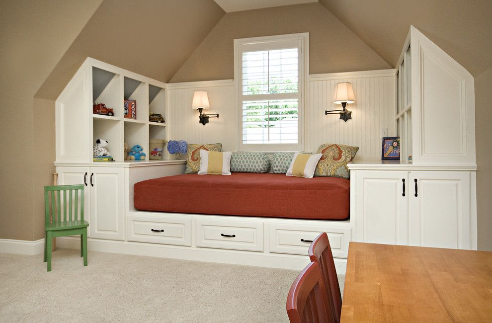 King Size Pillow Dimensions for a Traditional Kids with a Sloped Ceiling and Bonus Room / Guest Room by Driggs Designs