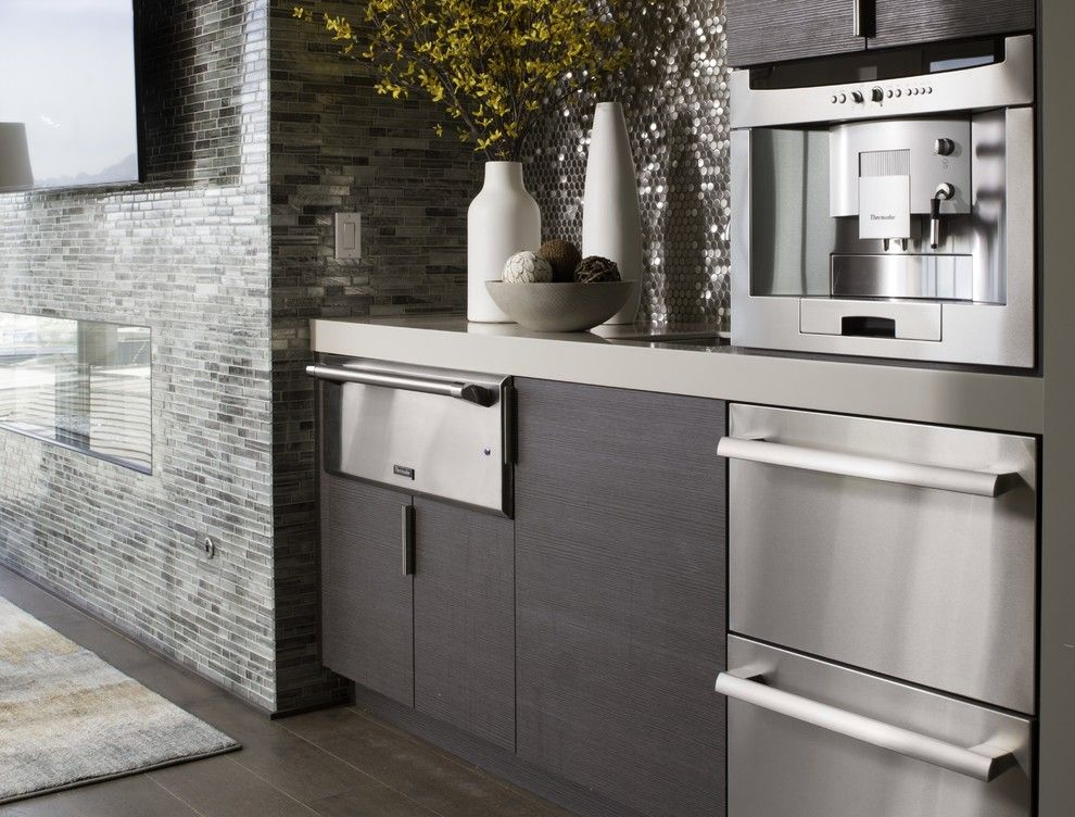Kingsman Fireplace for a Contemporary Kitchen with a Fireplace and Thermador by Thermador Home Appliances