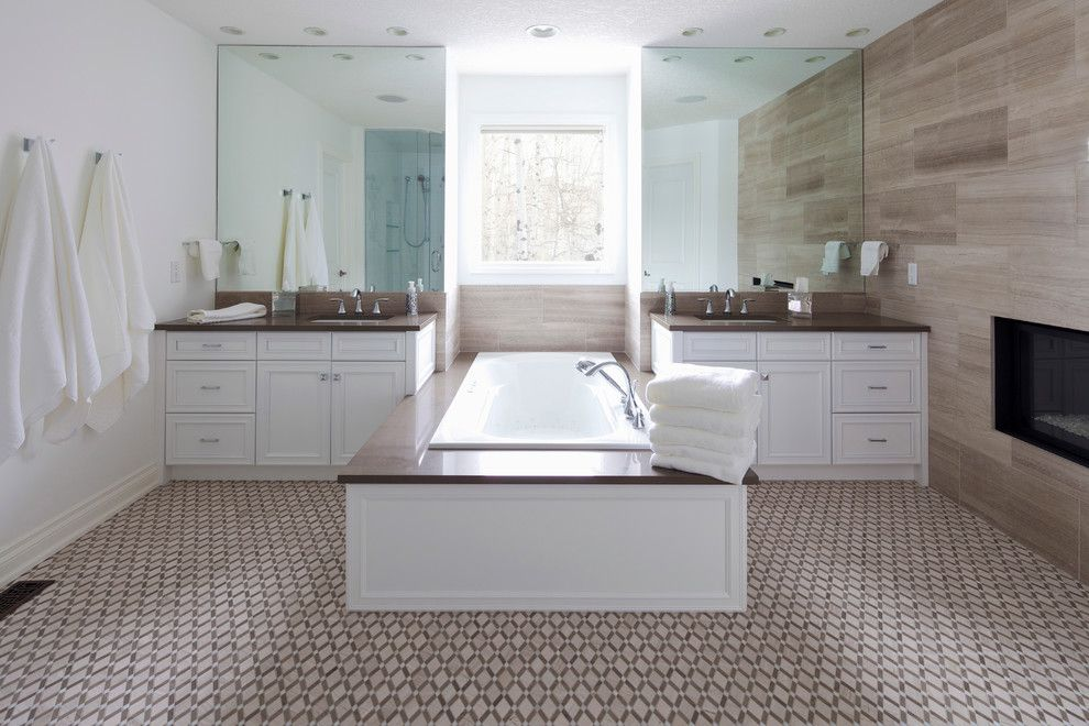 Kingsman Fireplace for a Transitional Bathroom with a Two Vanities and Wentworth Residence by Lynn Donaldson & Associates