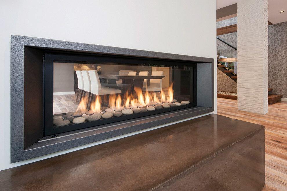 Kingsman Fireplace for a Transitional Dining Room with a Wall Paper Stairwell and Arundel by Highdesign