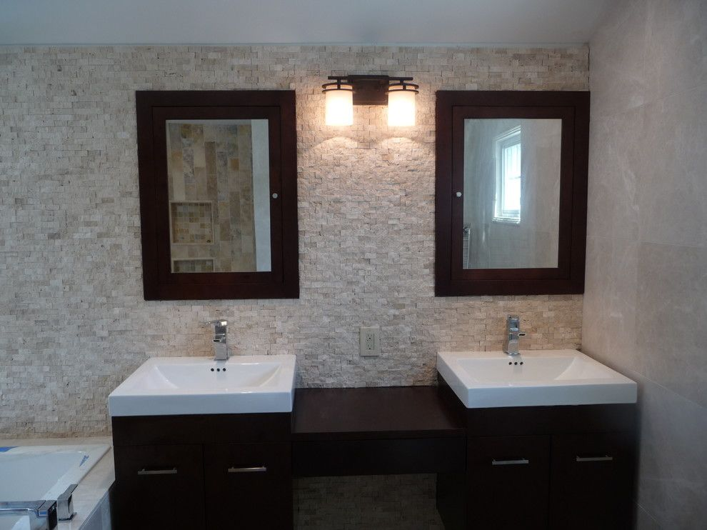 Kinkos Philadelphia for a Contemporary Bathroom with a Contemporary and Creamy Bathroom by Stonemar Natural Stone Company Llc