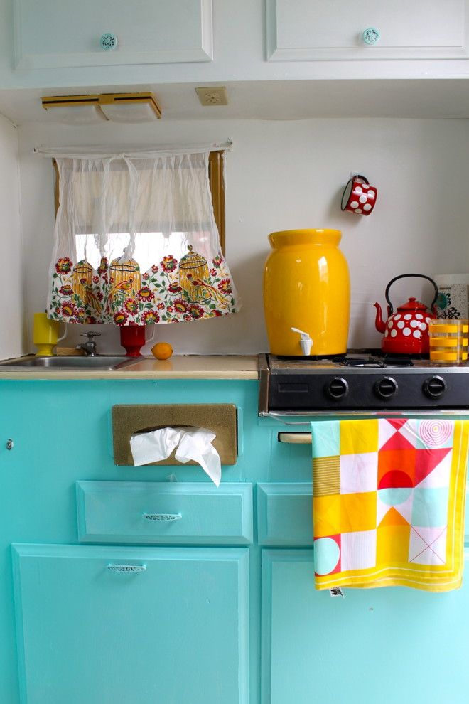 Kleenex Box for a Midcentury Kitchen with a Yellow and Vintage Caravan or Travel Trailer by Opendoorstudio