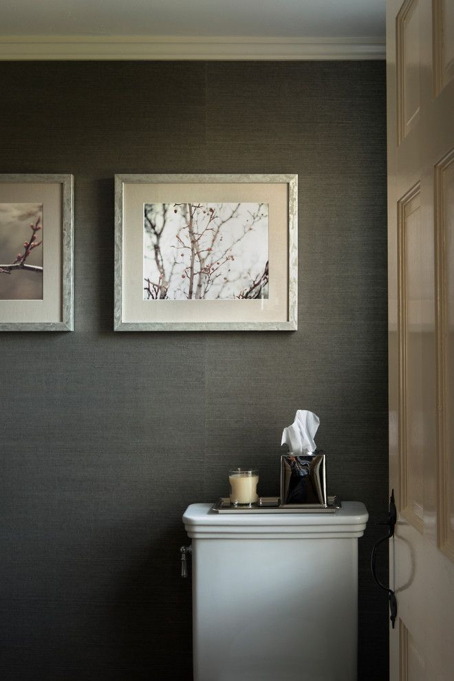 Kleenex Box for a Traditional Powder Room with a Framed Artwork and Sudbury by Pinney Designs