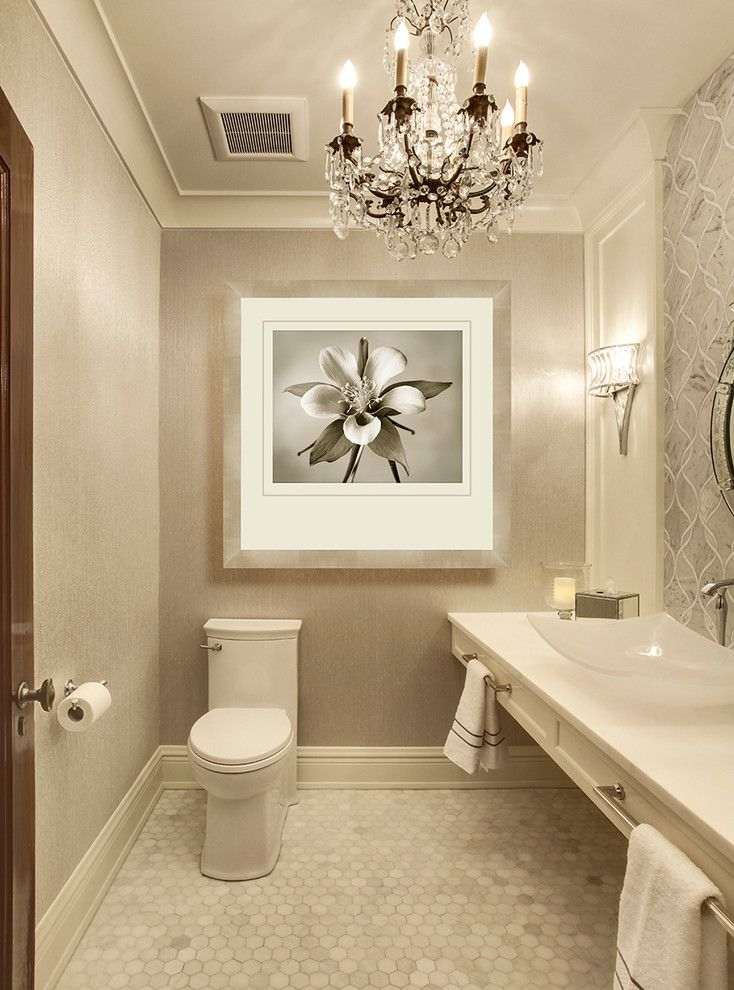 Kleenex Box for a Transitional Powder Room with a Gray White Powder Room and Seattle Powder Room by Beverly Bradshaw Interiors