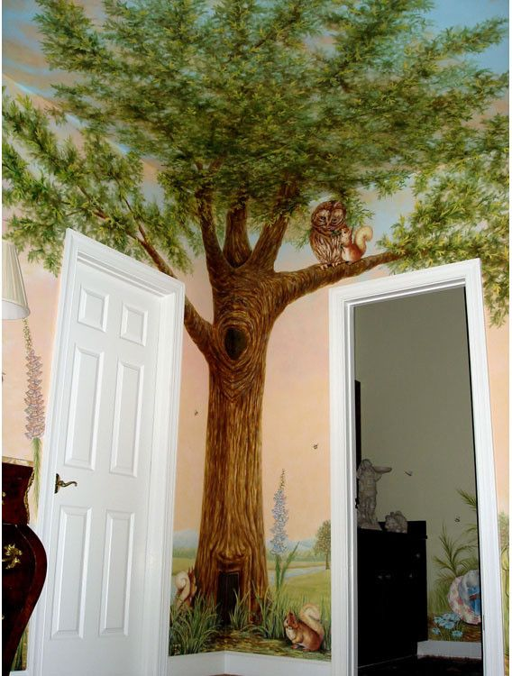 Klimt Tree of Life for a Eclectic Kids with a Trompe Loeil and Peter Rabbit Mural Inspired by Beatrix Potter by Visionary Mural Co.