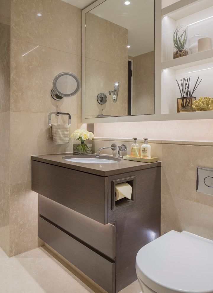 Koit for a Contemporary Bathroom with a Recessed Lighting and the Art House by Folio Design London
