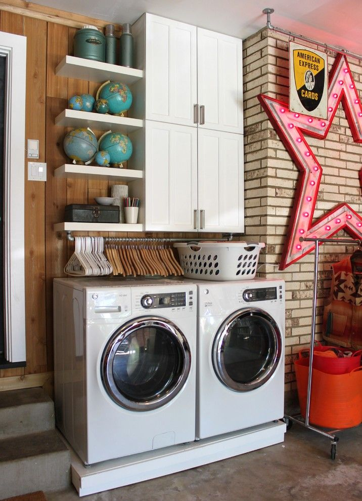 Koit for a Eclectic Laundry Room with a White Appliances and Garage Update on Cavender by the Cavender Diary