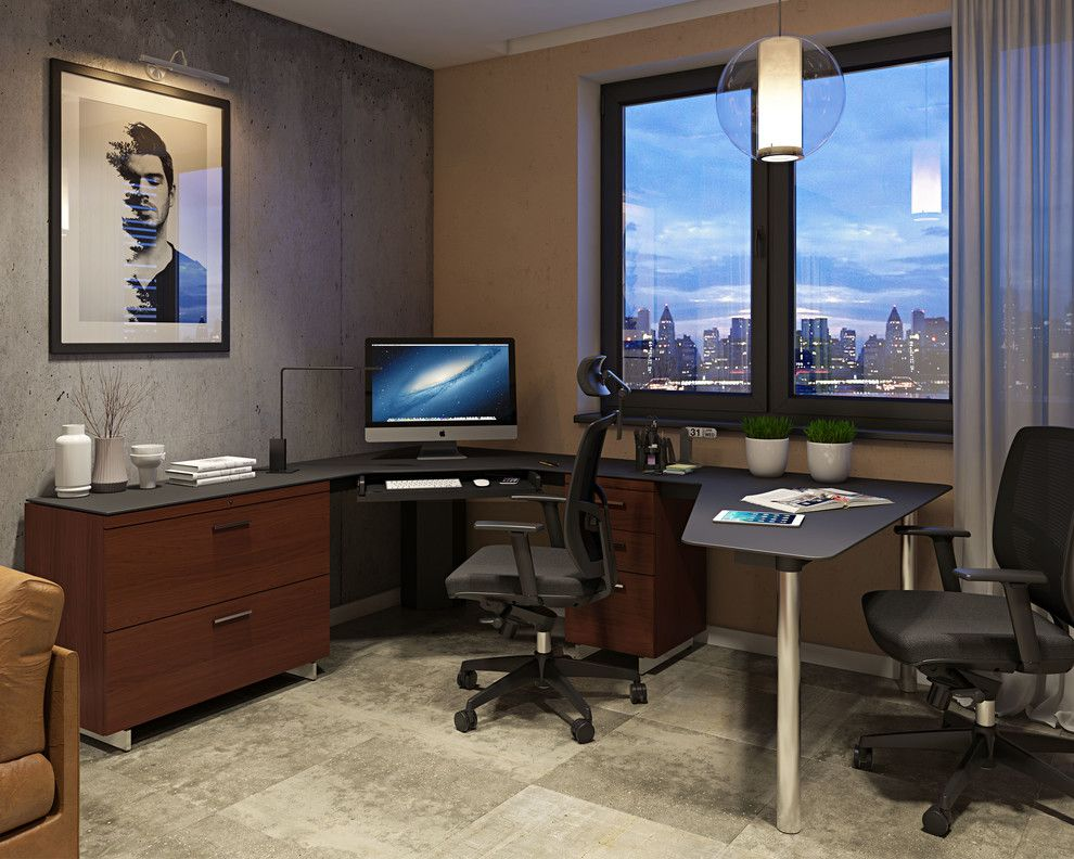 Koorsen Fire and Security for a Contemporary Home Office with a Pendant Light and Bdi Furniture by Bdi Furniture