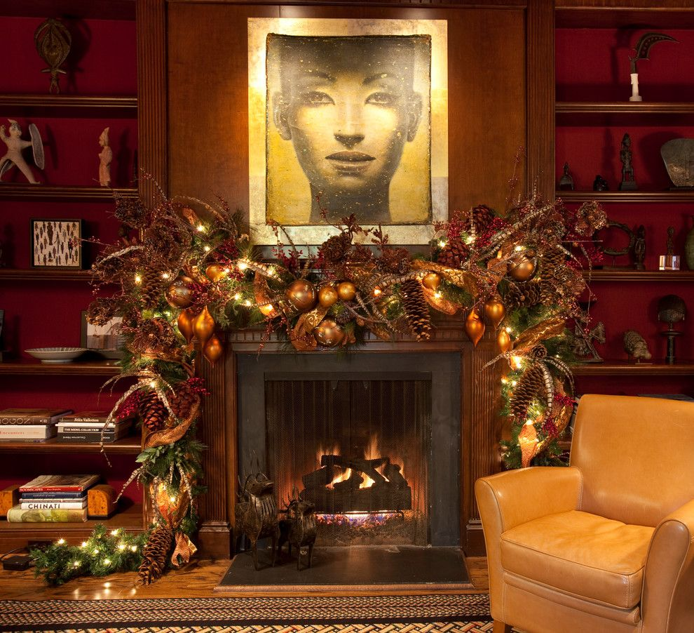 Koorsen Fire and Security for a Traditional Home Office with a Holiday and Christmas Interior by Regina Gust Designs