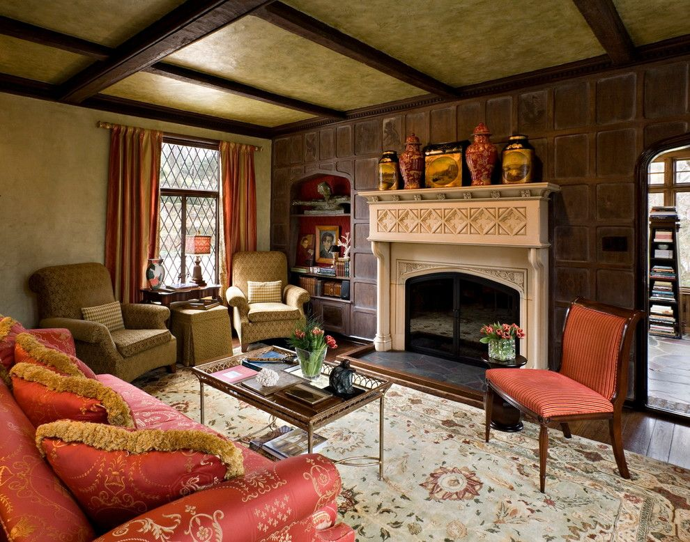 Koorsen Fire and Security for a Traditional Living Room with a Silk and Tudor Elegance by Belle Maison Interior Design