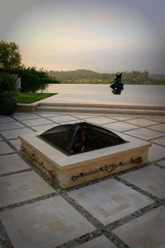 Koorsen Fire and Security for a Traditional Patio with a Fire Table and Custom Log Set and Burner by Cooke Furniture