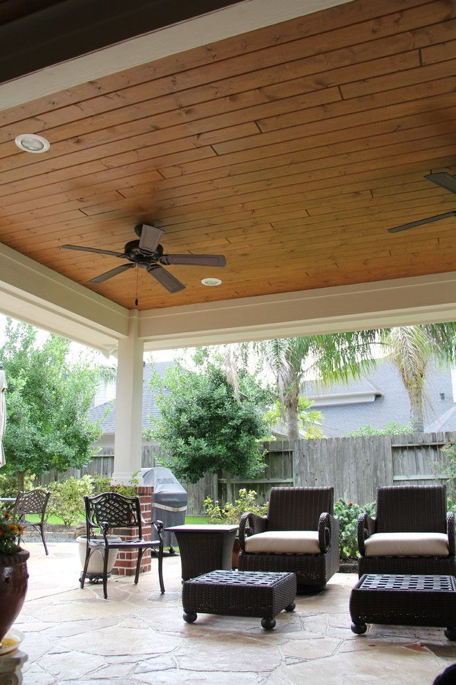 Koorsen Fire and Security for a Traditional Patio with a Patio Cover Memorial and Patio Cover in Houston Tx with Stamped Concrete by Tradition Outdoor Living