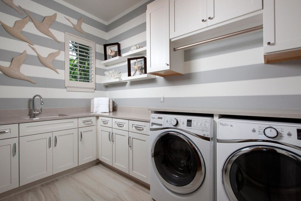 Koorsen Fire and Security for a Transitional Laundry Room with a Wall Decals and Anguilla   Naples Collection by Romanza Interior Design