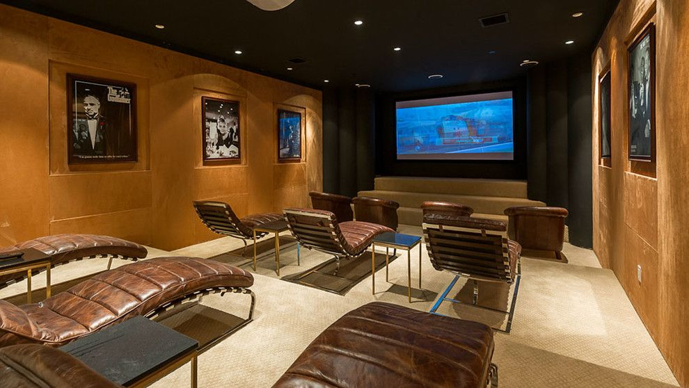 La Habra Theater for a Contemporary Home Theater with a Ceiling Lighting and 122 North Anita by Meridith Baer Home