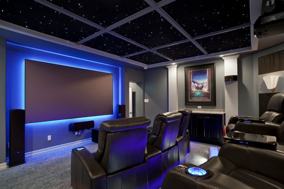 La Habra Theater for a Contemporary Home Theater with a Gray Walls and South Austin Home Theater by Zuri Custom Homes & Renovations