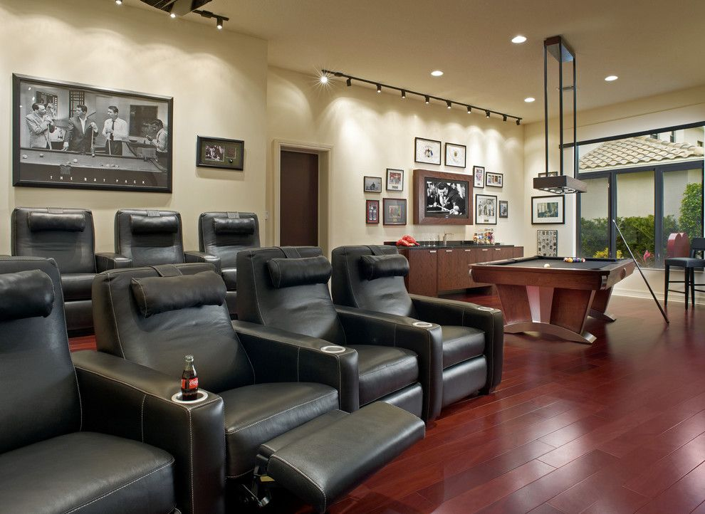La Habra Theater for a Contemporary Home Theater with a Pool Table and Adelson by Jeffrey King Interiors