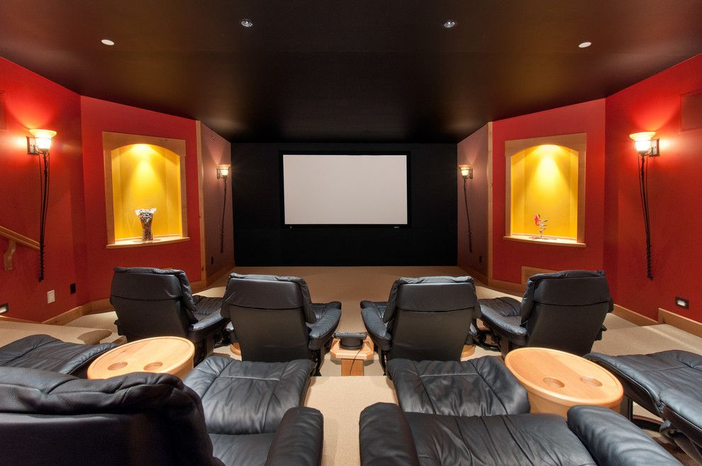La Habra Theater for a Traditional Home Theater with a Wood Trim and Recent Work by Blurrdmedia