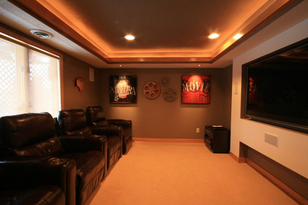 La Habra Theater for a Transitional Home Theater with a Television and J Brothers Home Improvement, Inc. by J Brothers Home Improvement Inc