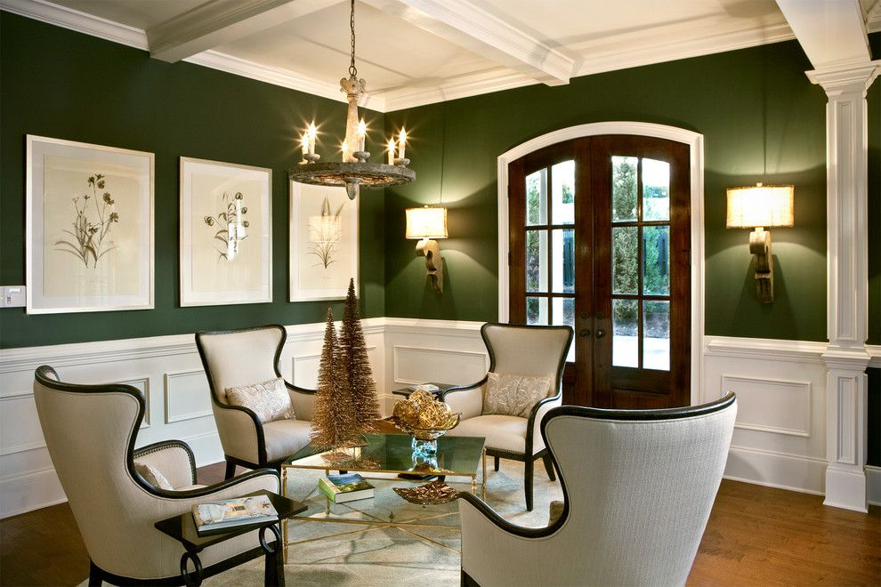 Lafayette House Nj for a Traditional Living Room with a Dark Green Walls and Parade of Homes 2012 by Lgb Interiors