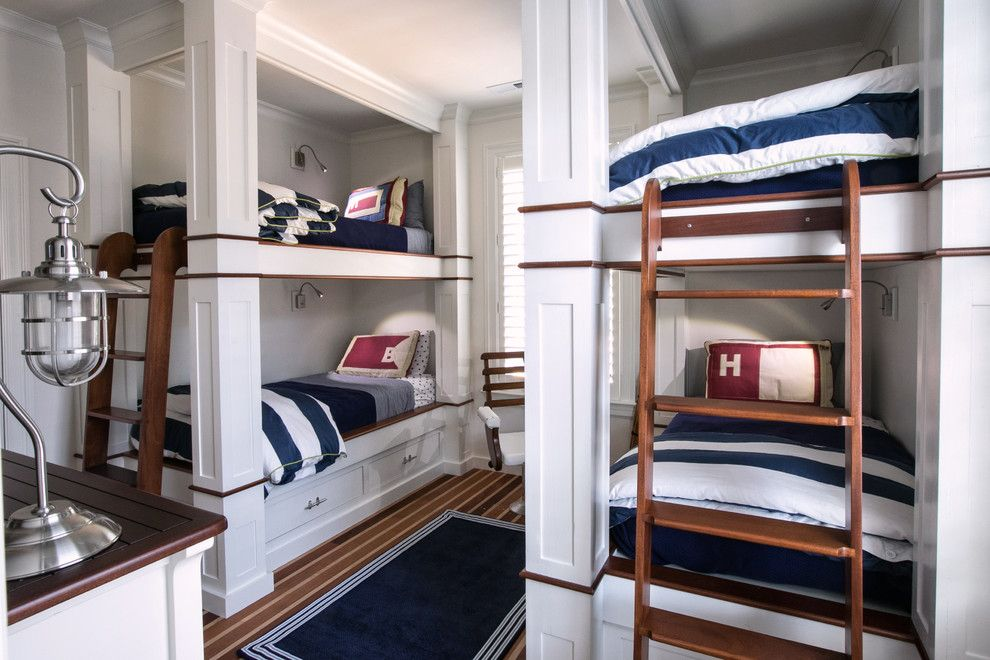 Lake Glenville Nc for a Beach Style Kids with a Caged Table Lamp and Nautical Bunkroom by Dempsey Hodges Construction