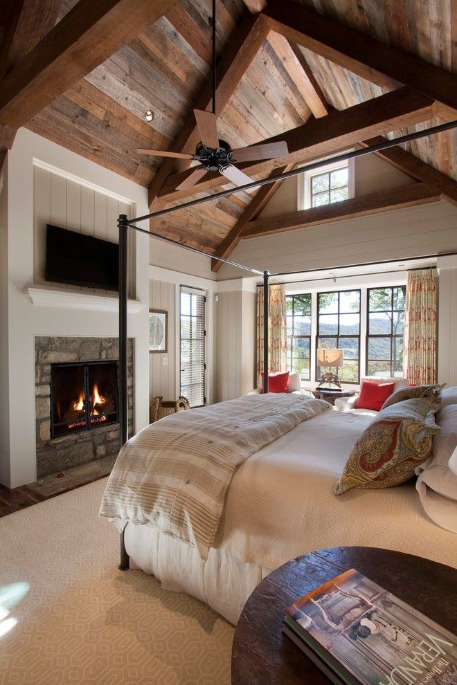 Lake Glenville Nc for a Rustic Bedroom with a Wall Mounted Tv and Reclaimed Natural Wonder by Morgan Keefe Builders, Inc.