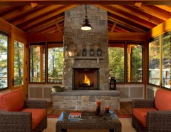 Lake Land Florida for a Rustic Porch with a Lakefront and Bolton Landing Modern Cabin by Teakwood Builders, Inc.