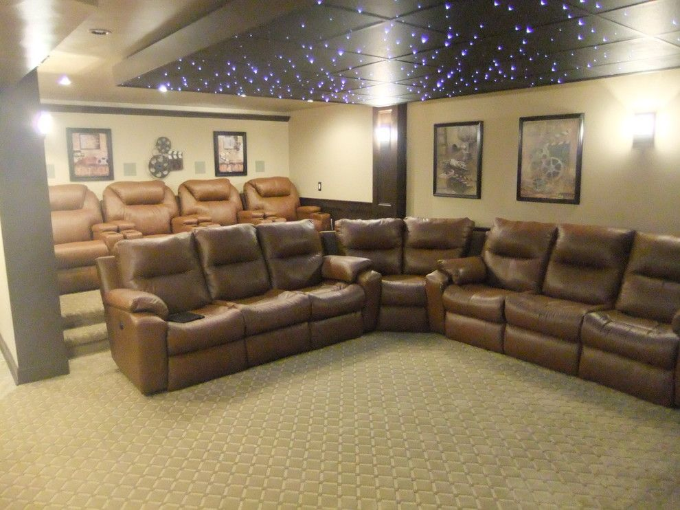 Lake Oswego Theater for a Traditional Home Theater with a Espresso Wainscoting and Lake House Theater by 360 Services, Llc