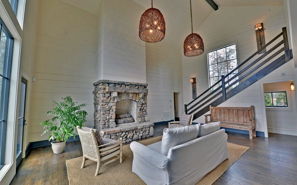 Lake Winnipesaukee Real Estate for a Rustic Living Room with a Lake Rabun and Lake Burton Custom Homes by Envision Web