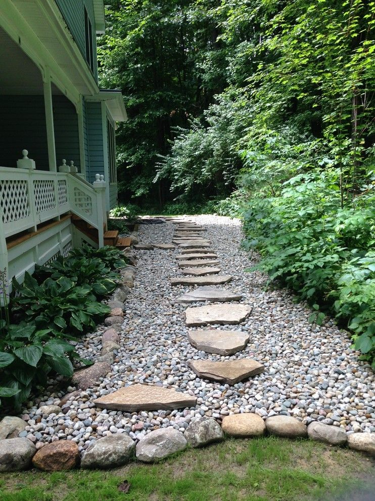 Landform for a Rustic Landscape with a Wet Locations and Shady Walkway by Landforms