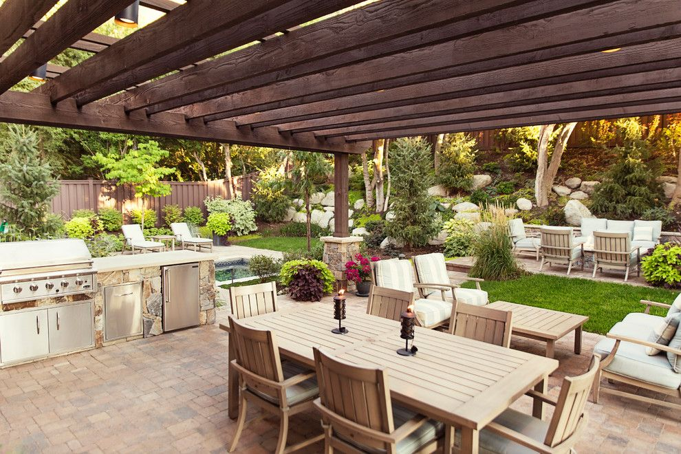 Landform for a Traditional Patio with a Pool and Little Cottonwood Canyon by Landform Design Group