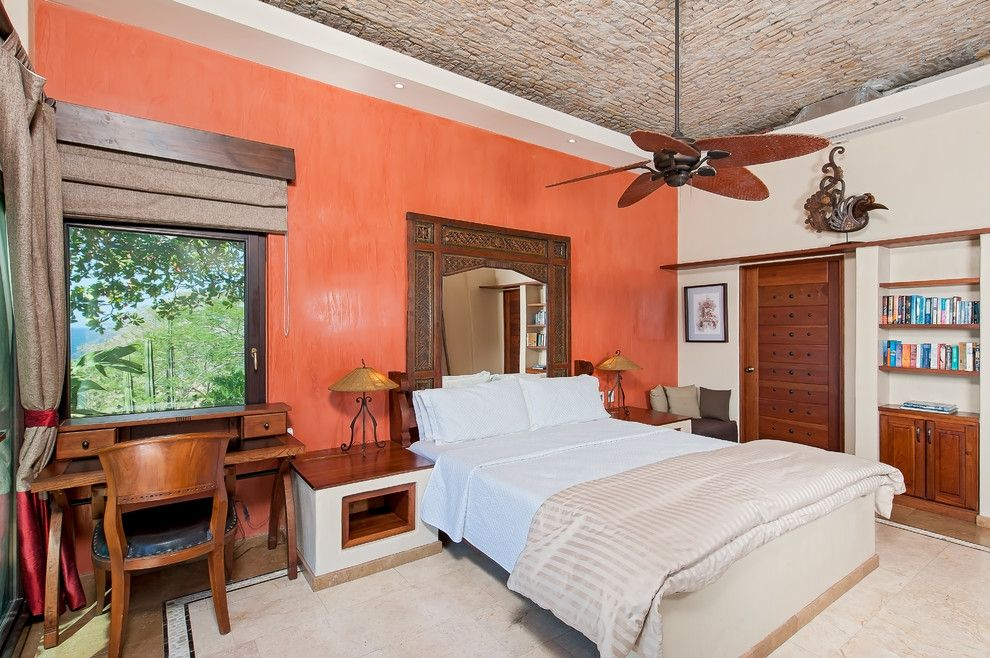 Laney Real Estate for a Mediterranean Bedroom with a Brown Roman Shade and Casa Pipilacha by Abc Real Estate Costa Rica