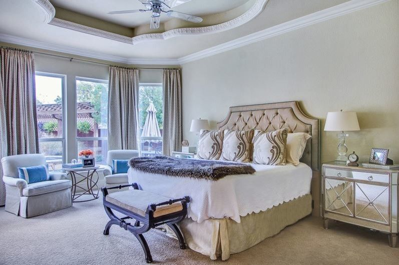 Larkins for a Traditional Bedroom with a Mirrored Side Table and Blues by Emily Johnston Larkin