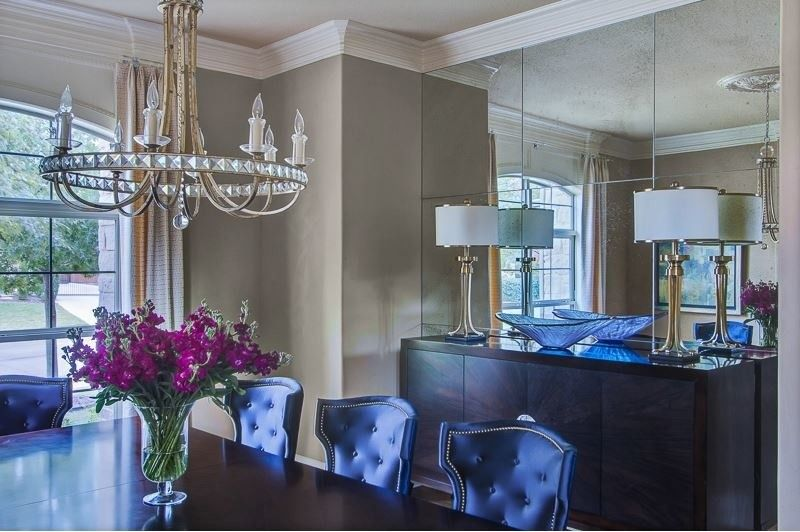 Larkins for a Traditional Dining Room with a Mirrored Wall and Blues by Emily Johnston Larkin